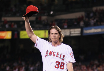 ANAHEIM, CA - MAY 02:  Starting pitcher Jered Weaver #36 of the Los Angeles Angels of Anaheim acknowledges the fans after throwing a no hitter against the Minnesota Twins at Angel Stadium of Anaheim on May 2, 2012 in Anaheim, California. The Angels defeat