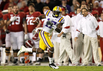 TUSCALOOSA, AL - NOVEMBER 05:  Morris Claiborne #17 of the LSU Tigers against the Alabama Crimson Tide at Bryant-Denny Stadium on November 5, 2011 in Tuscaloosa, Alabama.  (Photo by Kevin C. Cox/Getty Images)