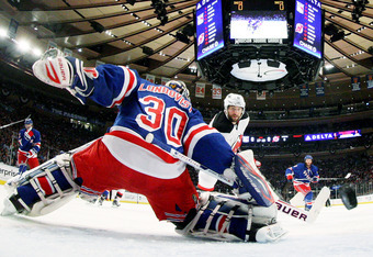 NEW YORK, NY - MAY 23:  Stephen Gionta #11 of the New Jersey Devils scores a first period goal past Henrik Lundqvist #30 of the New York Rangers in Game Five of the Eastern Conference Final during the 2012 NHL Stanley Cup Playoffs at Madison Square Garden