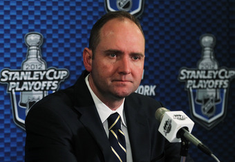 NEW YORK, NY - MAY 16:  Head Coach Peter DeBoer of the New Jersey Devils speaks to the media after their 3 to 2 win over the New York Rangers in Game Two of the Eastern Conference Final during the 2012 NHL Stanley Cup Playoffs at Madison Square Garden on
