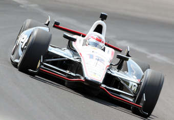 INDIANAPOLIS, IN - MAY 20:  Will Power drives the #12 Verizon Team Penske car during practice for the Indinapolis 500 at Indianapolis Motor Speedway on May 20, 2012 in Indianapolis, Indiana.  (Photo by Andy Lyons/Getty Images)