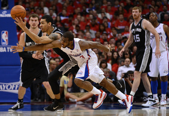 LOS ANGELES, CA - MAY 20:  Danny Green #4 of the San Antonio Spurs and Chris Paul #3 of the Los Angeles Clippers go after the ball in the second half in Game Four of the Western Conference Semifinals in the 2012 NBA Playoffs on May 20, 2011 at Staples Cen