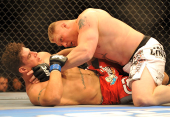 Frank Mir stood a decent chance at beating Brock Lesnar standing, but tried to get a submission against the much bigger man.