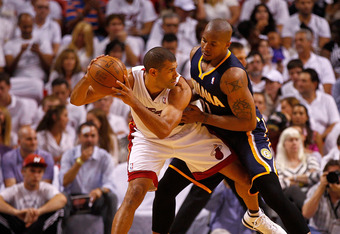MIAMI, FL - MAY 22: Shane Battier #31 of the Miami Heat posts up David West #21 of the Indiana Pacers during Game Five of the Eastern Conference Semifinals in the 2012 NBA Playoffs  at AmericanAirlines Arena on May 22, 2012 in Miami, Florida. NOTE TO USER