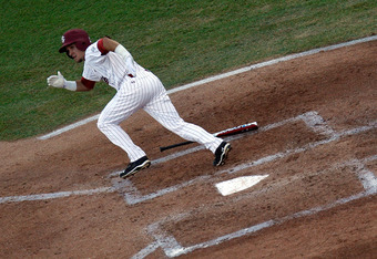 OMAHA, NE - JUNE 28:  Peter Mooney #6 of the South Carolina Gamecocks hits a double against the Florida Gators during game 2 of the men's 2011 NCAA College Baseball World Series at TD Ameritrade Park Omaha on June 28, 2011 in Omaha, Nebraska.  (Photo by R