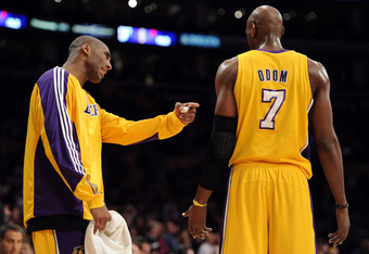 LOS ANGELES, CA - APRIL 26:  Kobe Bryant #24 of the Los Angeles Lakers talks with Lamar Odom #7 in the third quarter while taking on the New Orleans Hornets in Game Five of the Western Conference Quarterfinals in the 2011 NBA Playoffs on April 26, 2011 at