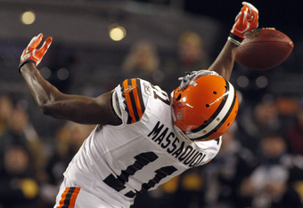 PITTSBURGH, PA - DECEMBER 8:   Mohamed Massaquoi #11 of the Cleveland Browns can't make a catch against the Pittsburgh Steelers during the game on December 8, 2011 at Heinz Field in Pittsburgh, Pennsylvania.  (Photo by Justin K. Aller/Getty Images)