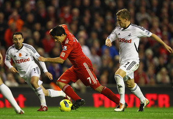 LIVERPOOL, ENGLAND - NOVEMBER 05:  Luis Suarez of Liverpool in action during the Barclays Premier League match between Liverpool and Swansea City at Anfield on November 5, 2011 in Liverpool, England.  (Photo by Clive Mason/Getty Images)
