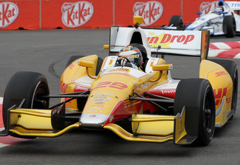 SAO PAULO, BRAZIL - APRIL 28:  Ryan Hunter-Reay, drives the #28 Team DHL/Sun Drop Citrus Soda Chevrolet during practice for the Sao Paulo Indy 300 on April 28, 2012 in Sao Paulo, Brazil.  (Photo by Nick Laham/Getty Images)