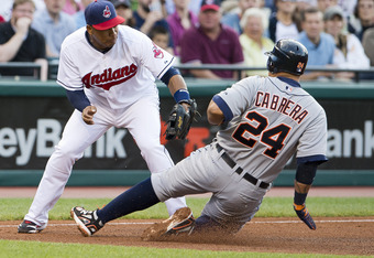 Jose Lopez tags out Miguel Cabrera at third on Wednesday.