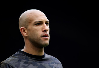 MANCHESTER, ENGLAND - APRIL 22:  Tim Howard of Everton looks on during the Barclays Premier League match between Manchester United and Everton at Old Trafford on April 22, 2012 in Manchester, England.  (Photo by Alex Livesey/Getty Images)