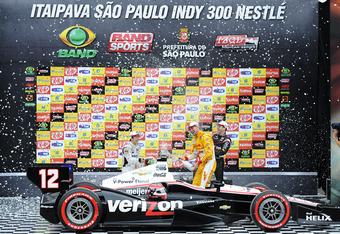 SAO PAULO, BRAZIL - APRIL 29:  (Left to right) Takuma Sato of Japan driver of the #Letterman Laningan Racing Dallara Honda,  Ryan Hunter-Reay driver of the #28 Andretti Autosport Dallara Chevrolet and Will Power of Australia driver of the #12 Team Penske
