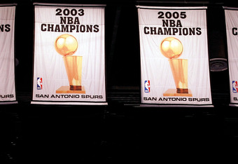 SAN ANTONIO, TX - MAY 02:  The NBA Championship banners of the San Antonio Spurs in Game Two of the Western Conference Quarterfinals of the 2012 NBA Playoffs at AT&T Center on May 2, 2012 in San Antonio, Texas.  NOTE TO USER: User expressly acknowledges a