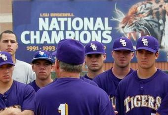 LSU's baseball team has won six National Championships in 1991, 1993, 1996, 1997, 2000 and 2009.  AP