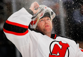 NEW YORK, NY - MAY 23:  Martin Brodeur #30 of the New Jersey Devils sprays water from his mouth in Game Five of the Eastern Conference Final against the New York Rangers during the 2012 NHL Stanley Cup Playoffs at Madison Square Garden on May 23, 2012 in