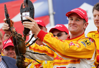 LOUDON, NH - AUGUST 14:  Ryan Hunter-Reay driver of the #28 Andretti Autosport Dallara Honda celebrates his win during the IZOD IndyCar Series MoveThatBlock.com Indy 225 at New Hampshire Motor Speedway on August 14, 2011 in Loudon, New Hampshire.  (Photo