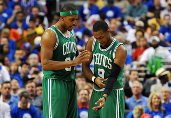 PHILADELPHIA, PA - MAY 23: Paul Pierce #34 of the Boston Celtics talks with teammate Rajon Rondo #9 during the game against the Philadelphia 76ers in Game Six of the Eastern Conference Semifinals in the 2012 NBA Playoffs at the Wells Fargo Center on May 2