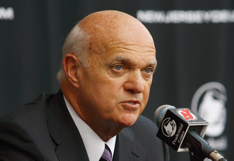 NEWARK, NJ - JULY 19: President/CEO/General Manager Lou Lamoriello of the New Jersey Devils address the media after introducing Peter DeBoer (not pictured) as the new head coach of the New Jersey Devils at a press conference on July 19, 2011 in Newark, Ne