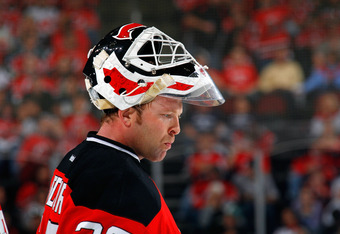 NEWARK, NJ - MAY 25:  Martin Brodeur #30 of the New Jersey Devils looks on against the New York Rangers in Game Six of the Eastern Conference Final during the 2012 NHL Stanley Cup Playoffs at the Prudential Center on May 25, 2012 in Newark, New Jersey.  (