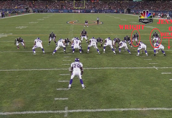 Wright is clearly attacking the gap, the right side of the oline has to decide—focus on Wright or block out Jennings (footage courtesy NBC)