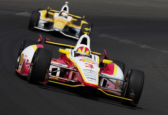 INDIANAPOLIS, IN - MAY 25:  Helio Castroneves of Brazil driver of the #3 Team Penske Dallara Chevrolet leads Ryan Hunter-Reay driver of the #28 Andretti Autosport Dallara Chevrolet during final practice on Carb Day for the Indianapolis 500 on May 25, 2012