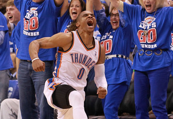 OKLAHOMA CITY, OK - MAY 21:  Russell Westbrook #0 of the Oklahoma City Thunder reacts after scoring while fouled against the Los Angeles Lakers  during Game Five of the Western Conference Semifinals of the 2012 NBA Playoffs at Chesapeake Energy Arena on M
