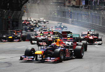 MONTE CARLO, MONACO - MAY 27:  Mark Webber of Australia and Red Bull Racing leads into the first corner at the start of Monaco Formula One Grand Prix at the Circuit de Monaco on May 27, 2012 in Monte Carlo, Monaco.  (Photo by Mark Thompson/Getty Images)