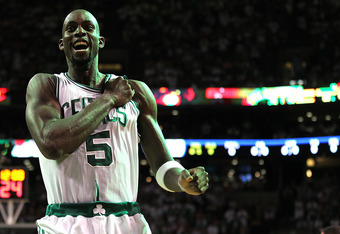 BOSTON, MA - MAY 26: Kevin Garnett #5 of the Boston Celtics celebrates in the first quarter against the Philadelphia 76ers during Game Seven of the Eastern Conference Semifinals during the 2012 NBA Playoffs on May 26, 2012 at TD Garden in Boston, Massachu