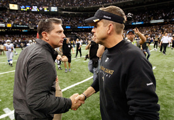 NEW ORLEANS, LA - JANUARY 07:  Head coach Jim Schwartz of the Detroit Lions shakes hands with head coach Sean Payton of the New Orleans Saints after their 2012 NFC Wild Card Playoff game at Mercedes-Benz Superdome on January 7, 2012 in New Orleans, Louisi