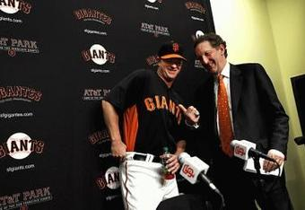 Matt Cain and Giants CEO Larry Baer talk about millionaire stuff.