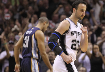 SAN ANTONIO, TX - APRIL 20:  Guard Manu Ginobili #20 of the San Antonio Spurs reacts against the Memphis Grizzlies in Game Two of the Western Conference Quarterfinals in the 2011 NBA Playoffs on April 20, 2011 at AT&T Center in San Antonio, Texas.  NOTE T