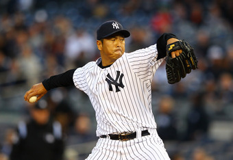 NEW YORK, NY - APRIL 30:  Hiroki Kuroda #18 of the New York Yankees pitches against the Baltimore Orioles during their game on April 30, 2012 at Yankee Stadium in the Bronx borough of New York City.  (Photo by Al Bello/Getty Images)