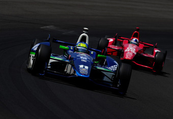 Kanaan led the race with just six laps to go