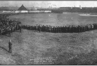 This image shows the expansive outfield at the Huntington Ave. Grounds.
