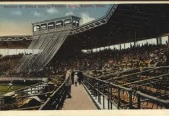 Fenway's original grandstand and pressbox are highlighted on a 1912-era postcard.