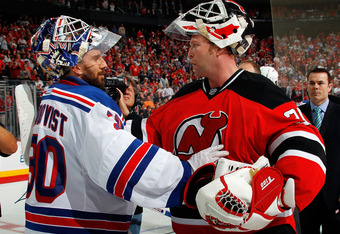 Martin Brodeur (right) outdueled Henrik Lundqvist (left) in an epic edition of the Battle of the Hudson. While Lundqvist may be considered the greatest goalie of today, Brodeur is by far the greatest of all time.