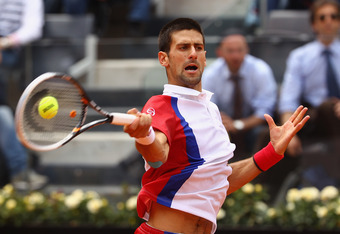 ROME, ITALY - MAY 21:  Novak Djokovic of Serbia plays a forehand against Rafael Nadal of Spain in their final match during day ten of the Internazionali BNL d'Italia 2012 at the Foro Italico Tennis Centre on May 21, 2012 in Rome, Italy.  (Photo by Clive B