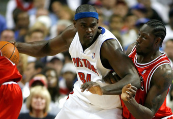 AUBURN HILLS, MI - MAY 05:  Chris Webber #84 of the Detroit Pistons tries to back down Ben Wallace #3 of the Chicago Bulls in Game One of the Eastern Conference Semifinals during the 2007 NBA Playoffs at the Palace of Auburn Hills on May 5, 2007 in Auburn