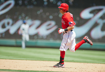 Ian Kinsler rounds the bases after his home run in the third.