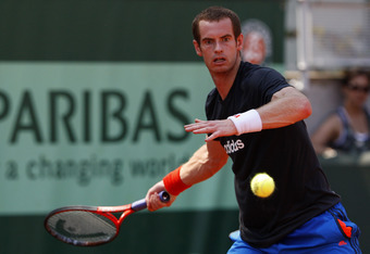 PARIS, FRANCE - MAY 27:  Andy Murray of Great Britain plays a forehand during a practice session on day one of the French Open at Roland Garros on May 27, 2012 in Paris, France.  (Photo by Getty Images/Getty Images)
