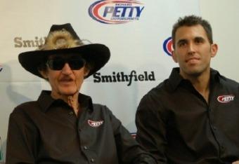 Richard Petty and driver Aric Almirola before the 2012 season at Daytona—Credit Dwight Drum at Racetake.com