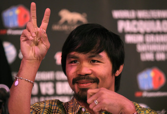 BEVERLY HILLS, CA - FEBRUARY 21:  Manny Pacquiao attends a press conference announcing his upcoming World Boxing Organization welterweight championship fight against Timothy Bradley at The Beverly Hills Hotel on February 21, 2012 in Beverly Hills, Califor