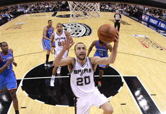 SAN ANTONIO, TX - MAY 27:  Manu Ginobili #20 of the San Antonio Spurs lays the ball up against the Oklahoma City Thunder in Game One of the Western Conference Finals of the 2012 NBA Playoffs at AT&T Center on May 27, 2012 in San Antonio, Texas. NOTE TO US