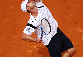 PARIS - MAY 25:  Andy Roddick of the United States serves during the men's singles second round match between Andy Roddick of the United States and Jarkko Nieminen of Finland at the French Open on day three of the French Open at Roland Garros on May 25, 2