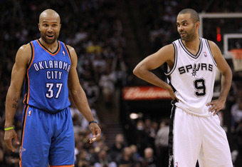 SAN ANTONIO, TX - MAY 27:  Derek Fisher #37 of the Oklahoma City Thunder talks with Tony Parker #9 of the San Antonio Spurs in the fourth quarter in Game One of the Western Conference Finals of the 2012 NBA Playoffs at AT&T Center on May 27, 2012 in San A