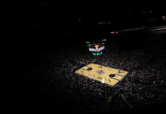 SAN ANTONIO, TX - MAY 27:  A general view as the San Antonio Spurs take on the Oklahoma City Thunder in Game One of the Western Conference Finals of the 2012 NBA Playoffs at AT&T Center on May 27, 2012 in San Antonio, Texas. NOTE TO USER: User expressly a
