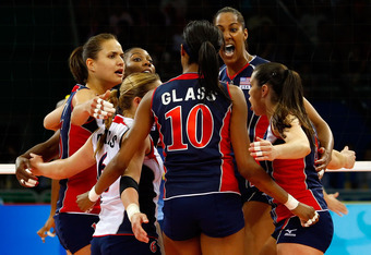 BEIJING - AUGUST 23:  The United States players celebrate in a huddle during the women's gold medal volleyball game held at the Beijing Institute of Technology Gymnasium on Day 15 of the Beijing 2008 Olympic Games on August 23, 2008 in Beijing, China.  (P