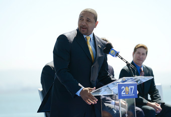 SAN FRANCISCO, CA - MAY 22:  Head Coach of the Golden State Warriors Mark Jackson speaks at a press conference with the Golden State Warriors announcing plans to build a new sport and entertainment arena on the waterfront in San Francisco in time for the