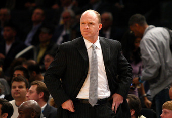 NEW YORK, NY - MARCH 26:  Head coach Scott Skiles of the Milwaukee Bucks looks on against the New York Knicks at Madison Square Garden on March 26, 2012 in New York City. NOTE TO USER: User expressly acknowledges and agrees that, by downloading and or usi