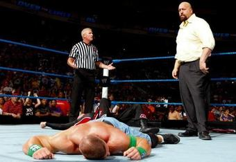 Cena laid out at Over the Limit. (Image courtesy of WWE.com)